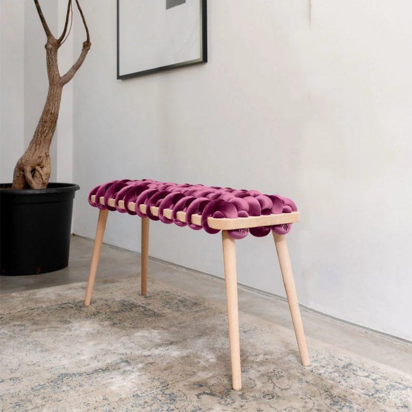 Woven Bench In Purple Velvet