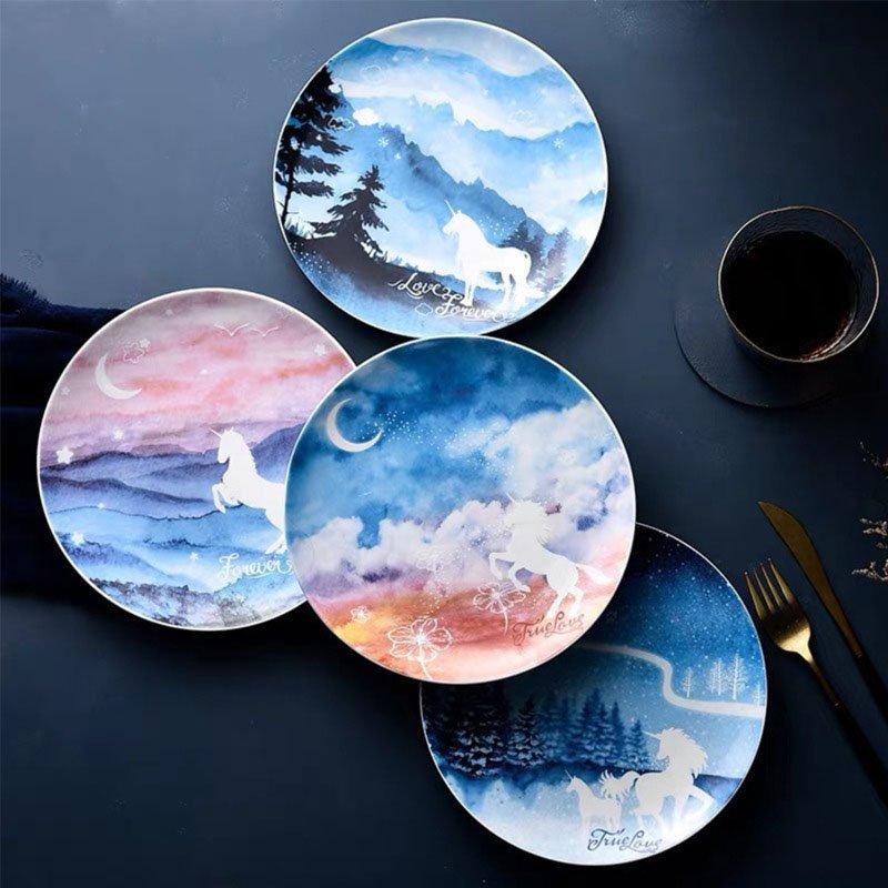 Ceramics Unicorn Starry Sky Plate