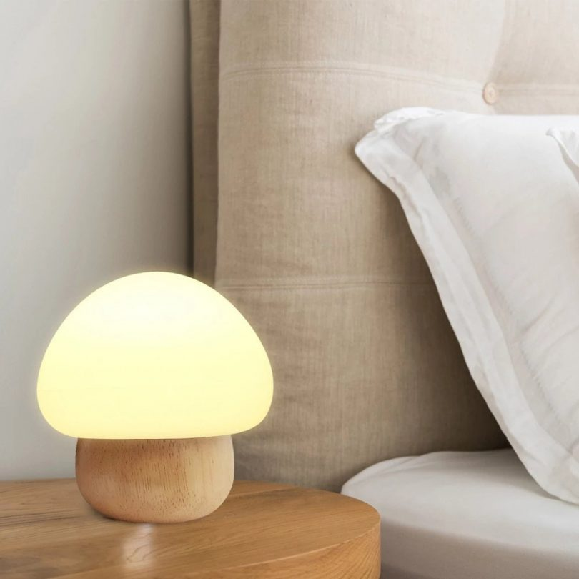 Wooden Mushroom Led Night Lamp