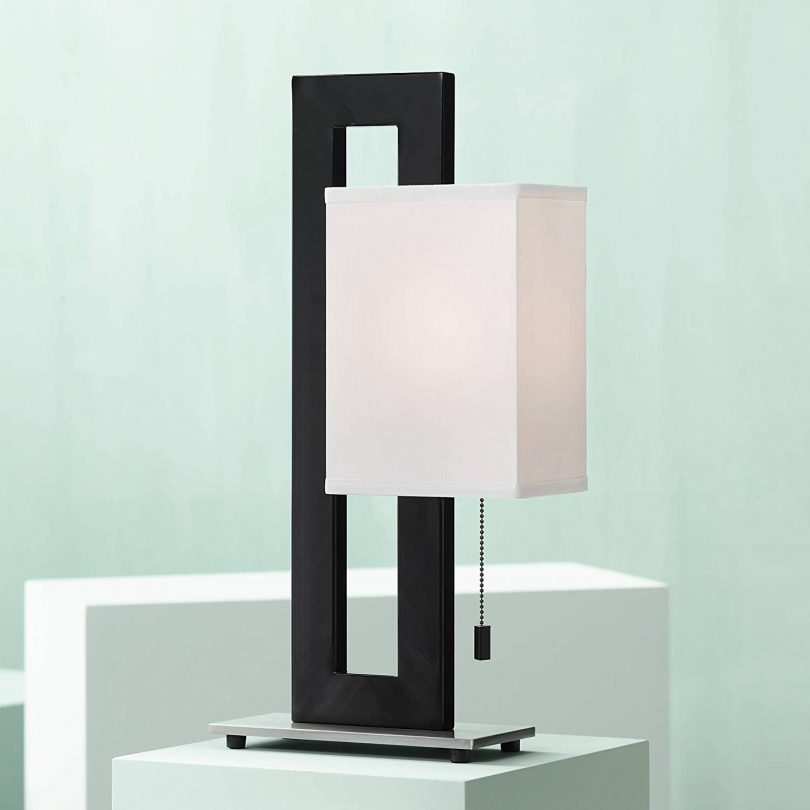 Floating Square Modern Accent Table Lamp Black Metal Rectangular White Box Shade for Living Room Family Bedroom Bedside