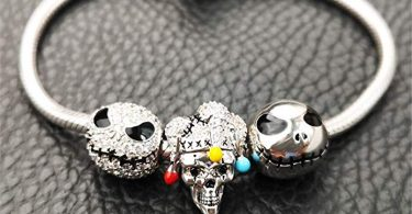 """GNOCE """"Jack Skull 925 Sterling Silver Skull Beads Charm"""