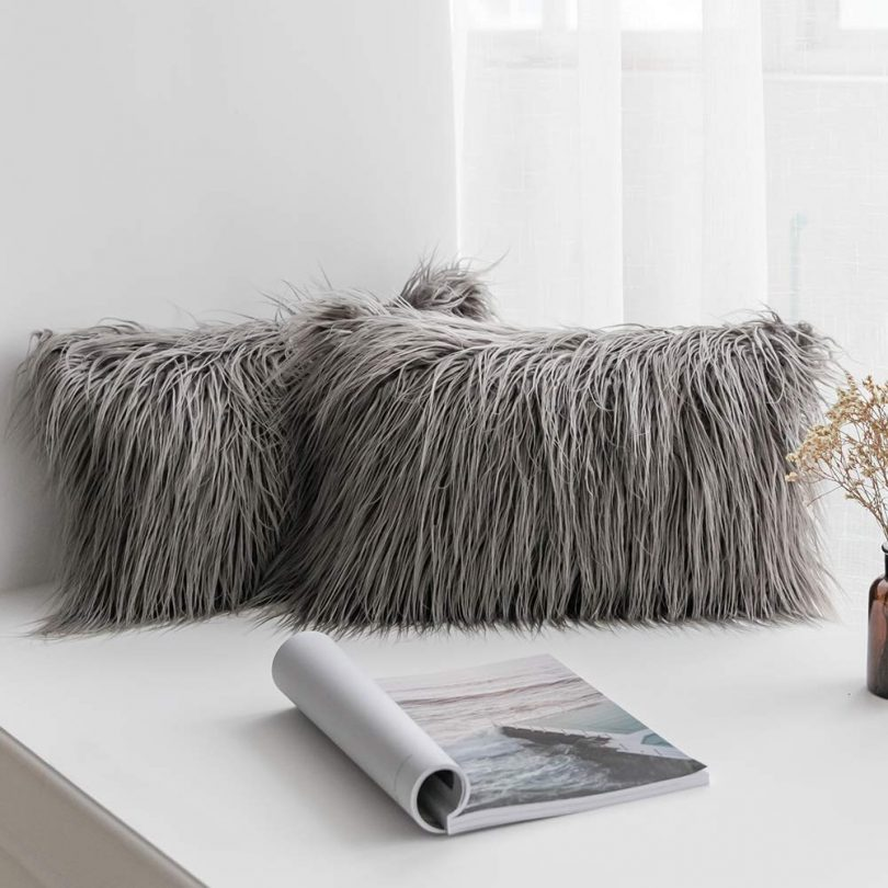 MIULEE Pack of 2 Decorative New Luxury Series Style Grey Faux Fur Throw Pillow Case Cushion