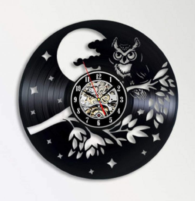 Owl Vinyl Wall Clock