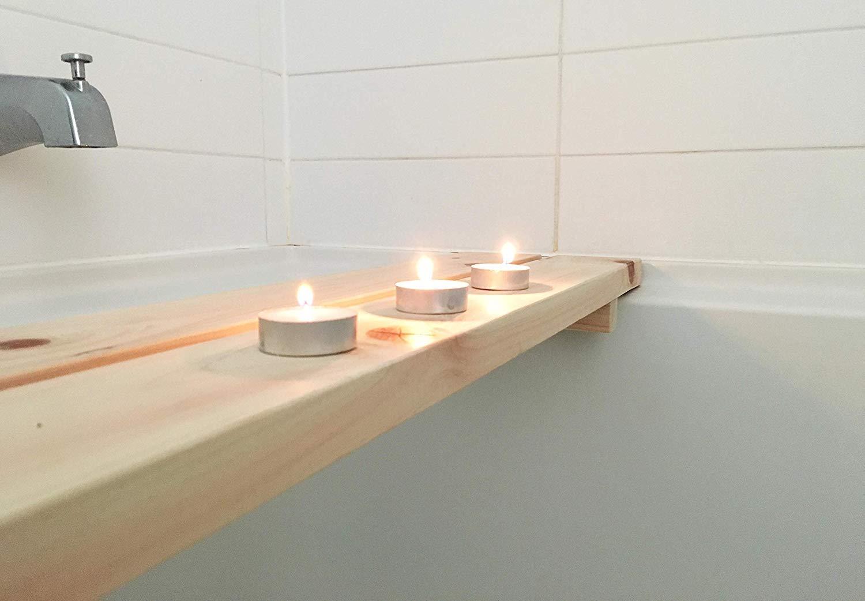 IPPINKA Natural Bathtub Bench/Caddy Made from Hinoki Japanese Cypress Wood