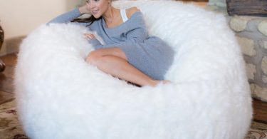 Comfy Sacks 5 ft Memory Foam Bean Bag Chair, White Furry