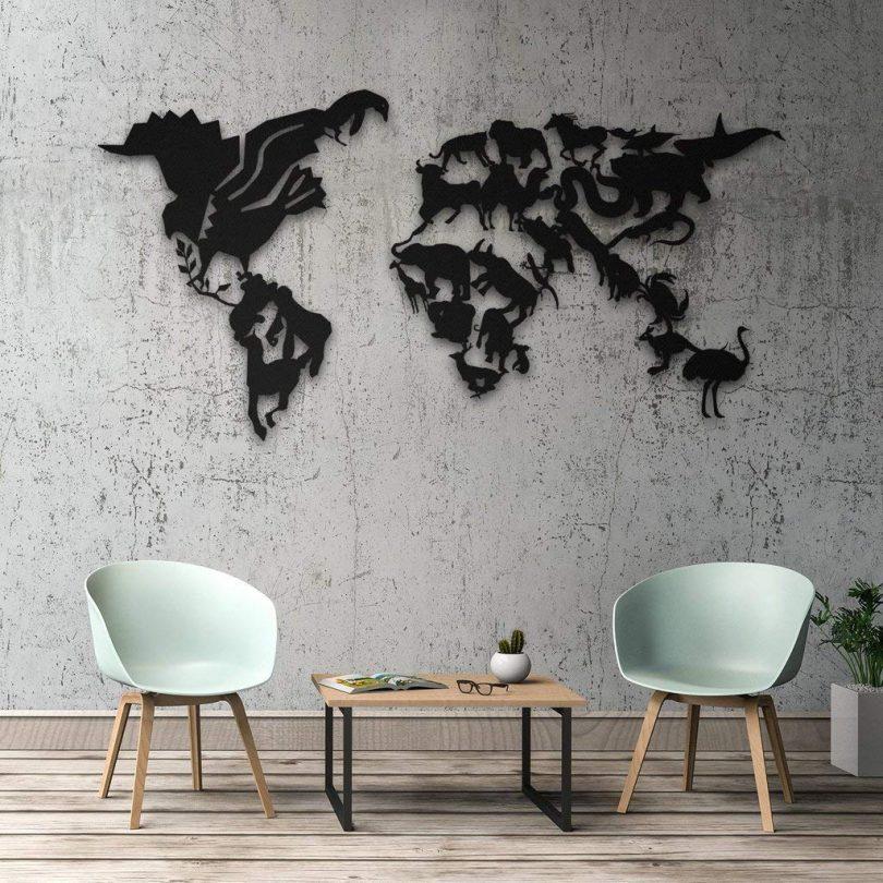 Wild Life Metal World Map Wall Art