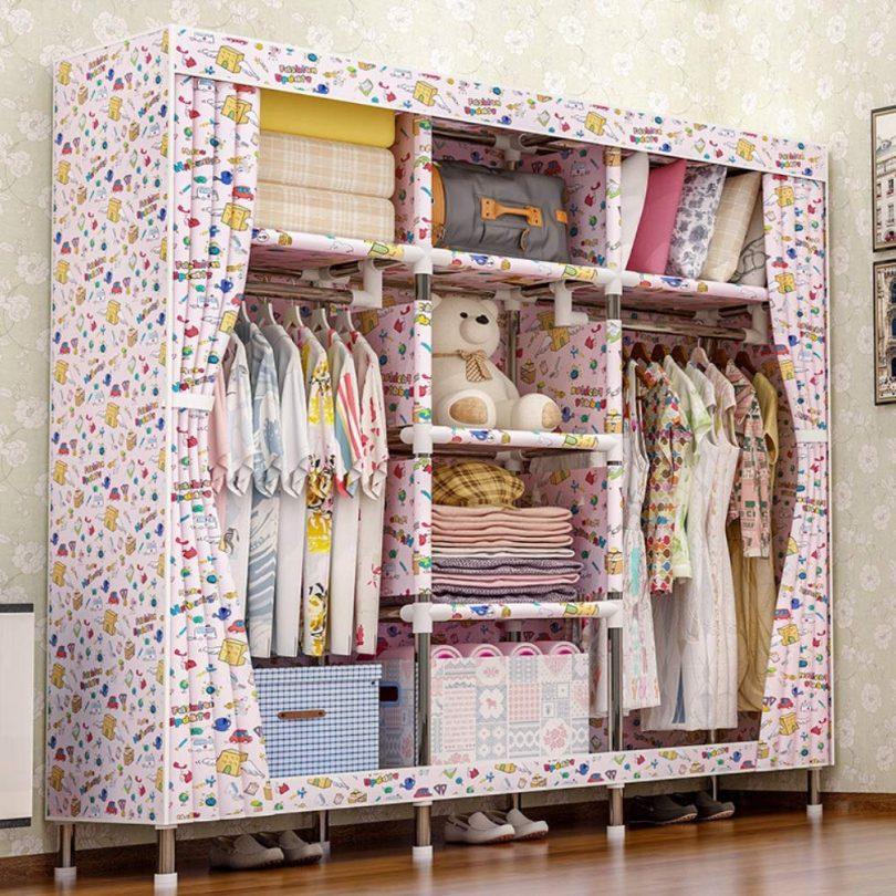 Jajx-hu Free Standing Clothes Storage Organizer Modern Wardrobe