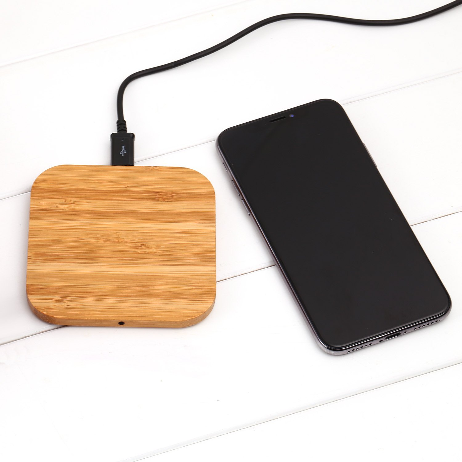 Qi Wireless Fast Charger Slim Wooden Pad Charging Mat