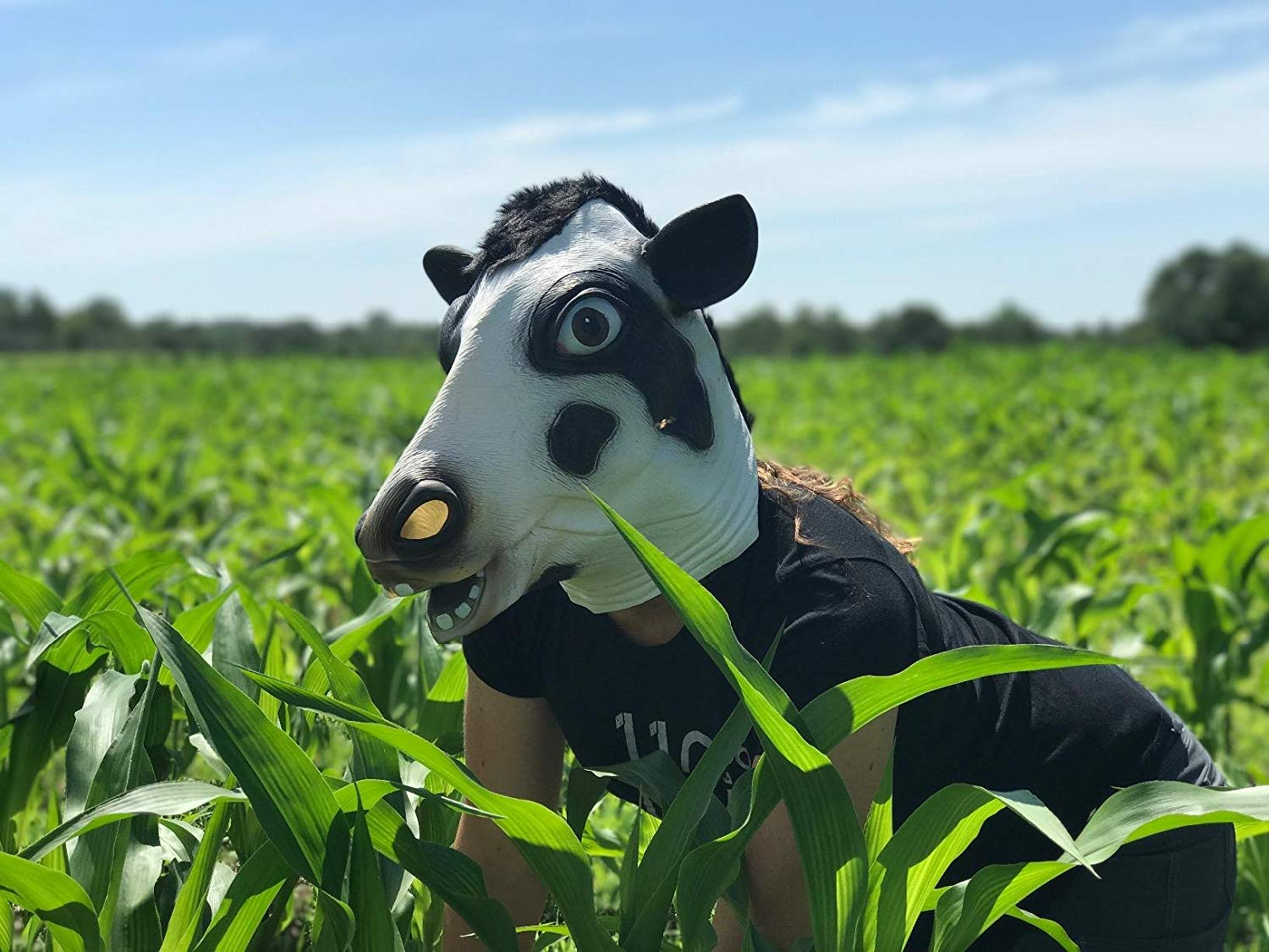 CreepyParty Novelty Halloween Costume Party Latex Cow Head Mask