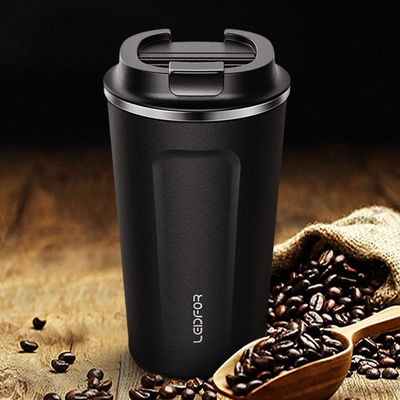 Leidfor Insulated Tumbler Coffee Travel Mug Vacuum Insulation Coffee Thermos Stainless Steel with Screw on Lid Leak proof BPA-Free 12 oz