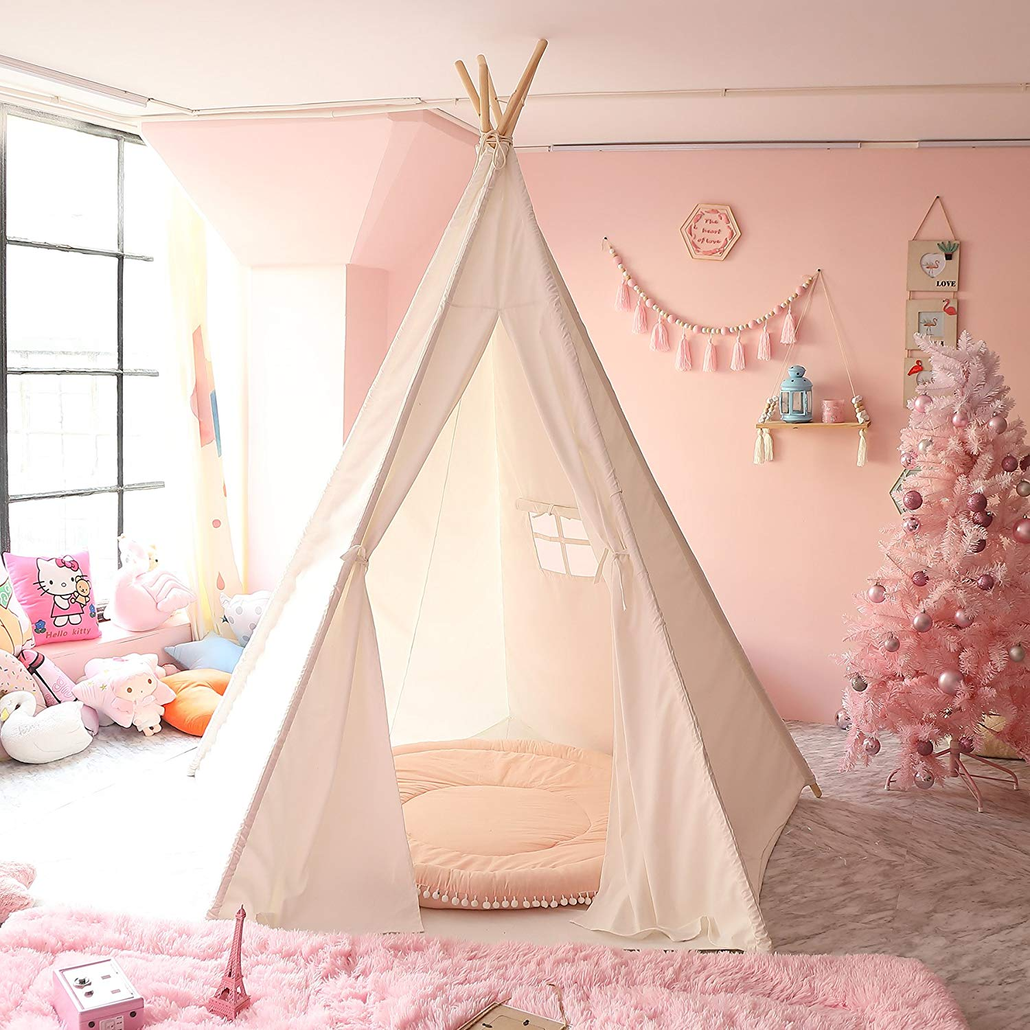 CO-Z Teepee Play Tent Foldable for Kids with Banners