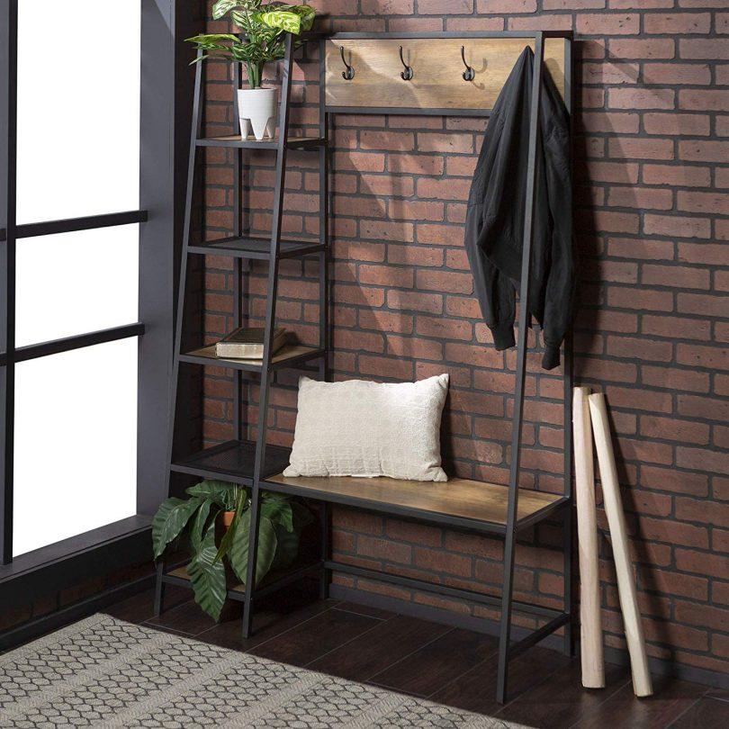 Shelf Entryway Bench Hall Tree Storage Coat Rack