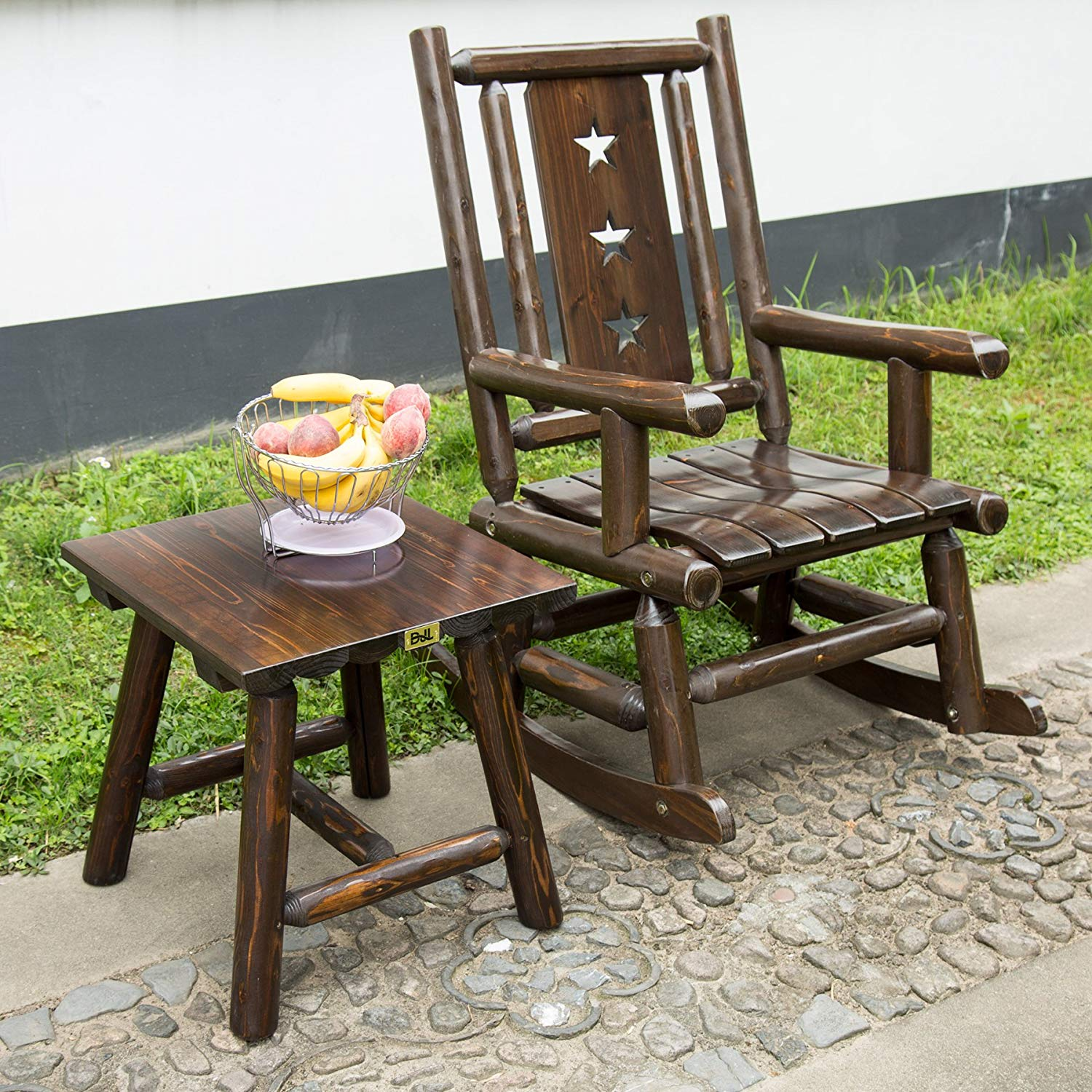 Wood Outdoor Rocking Chair Rustic