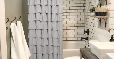 Volens Gray/Grey Ruffle Shower Curtain