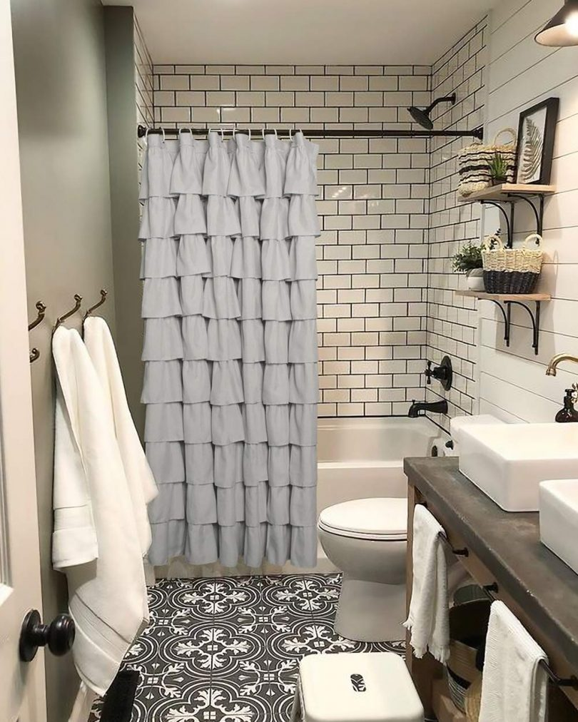 Volens Gray/Grey Ruffle Shower Curtain
