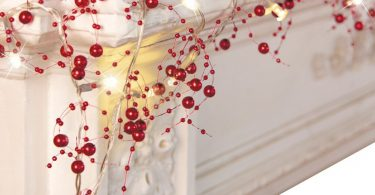 Festive Lighted Berry Beaded Garland