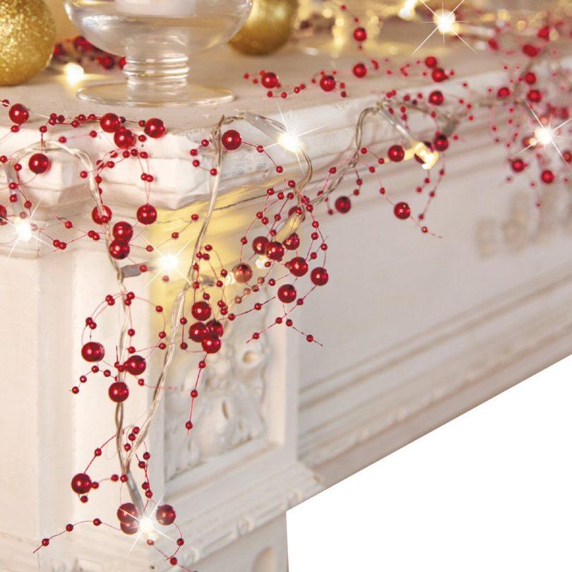 Festive Lighted Berry Beaded Garland