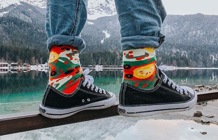 PIZZA SOCKS BOX Vege 1 pair Cotton Socks Made In Europe Unisex Funny Gift
