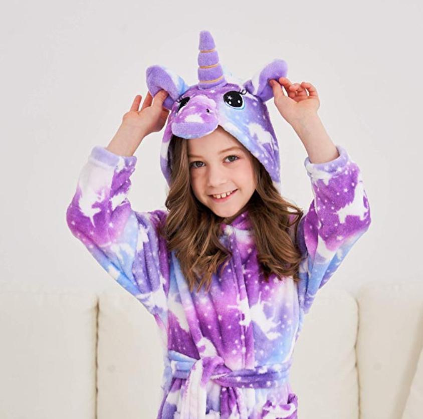 Soft Unicorn Hooded Bathrobe Sleepwear