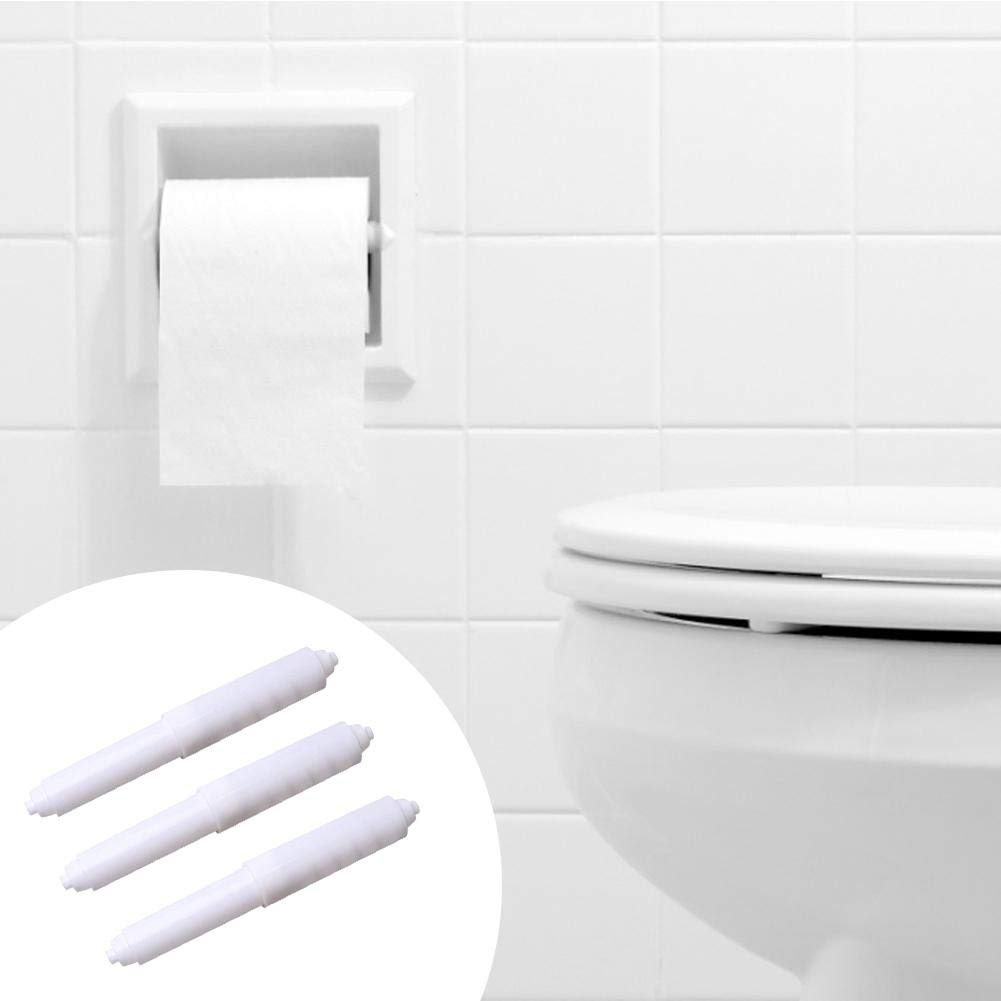 ELEC TECH 3PCS Toilet Paper Holder White White Replacement Plastic Spring Loaded