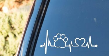 Bluegrass Decals Pet Paw Heartbeat Lifeline Dog Decal Sticker
