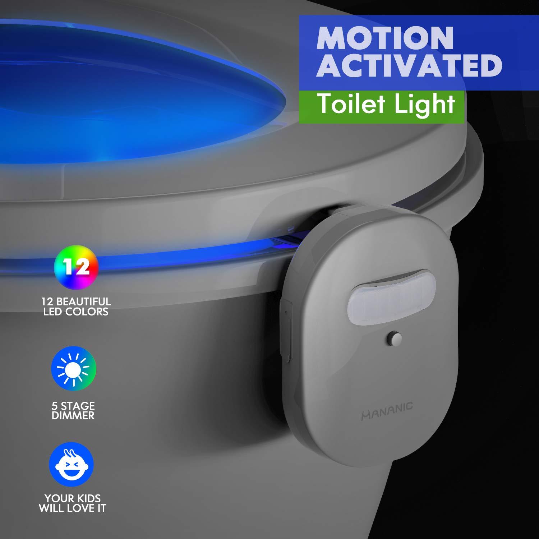 MANANIC 12-Color Rechargeable Motion Sensor Toilet Night Light