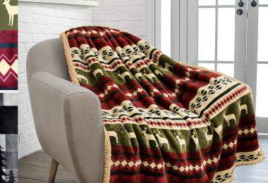 PAVILIA Premium Plush Sherpa Throw Christmas Blanket