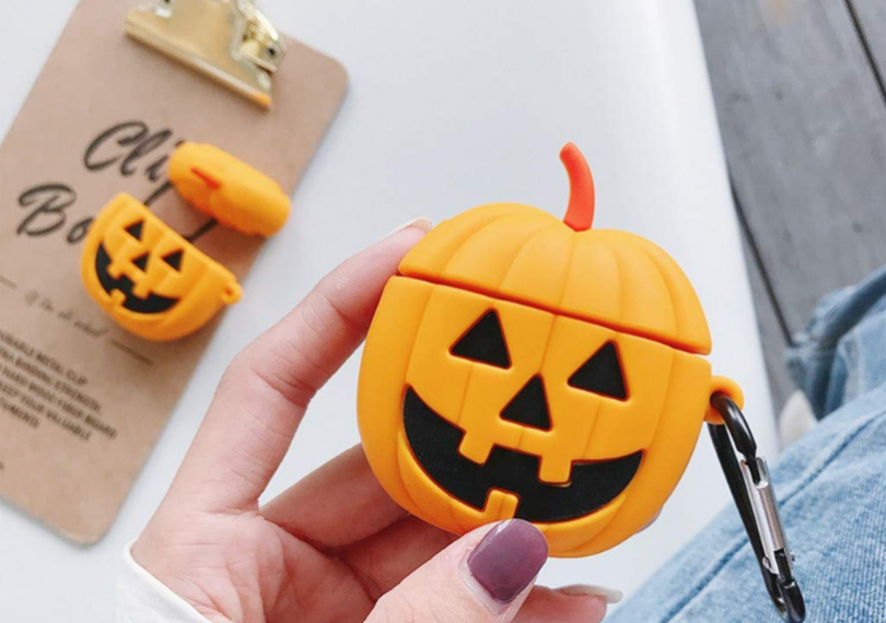 Pumpkin Silicone Anti-Lost Protective Cover Skin Case for Apple Air-Pods