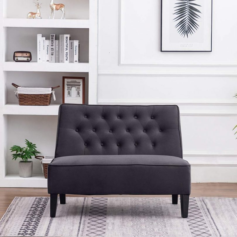 Haobo Button Tufted Loveseat Settee Upholstered Sofa