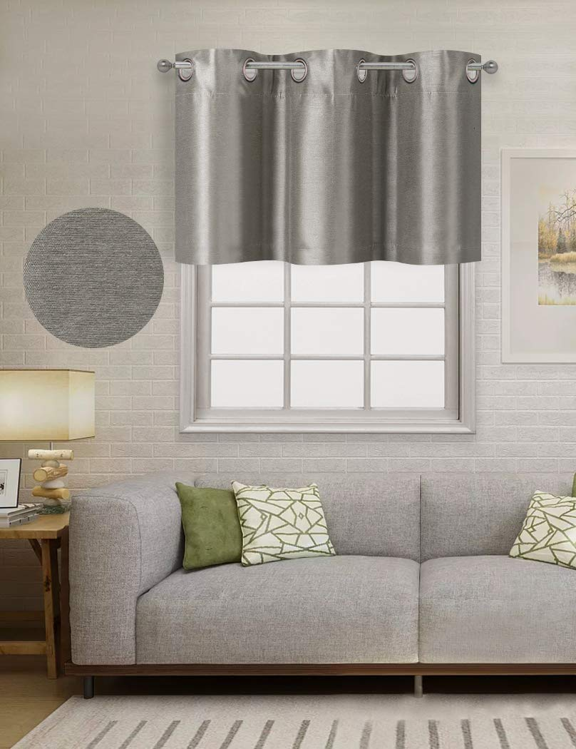 Home Queen Solid Grommet Top Blackout Curtain Valance Window Treatment for Living Room
