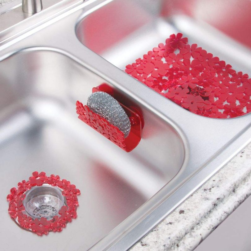 mDesign Floral Kitchen Sink Protector Mat,