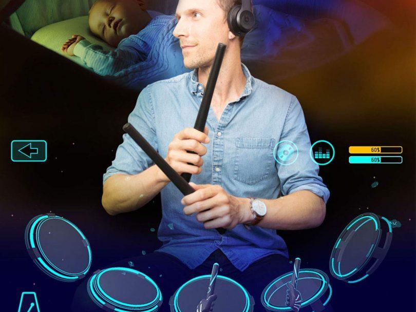 AEROBAND Drum Sticks Air Electronic Drum Set with Light
