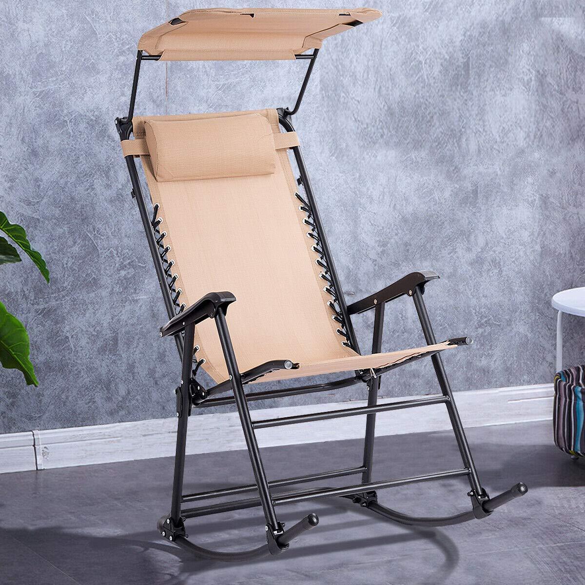 Stark Item Folding Rocking Chair Rocker Porch Zero Gravity Patio Furniture W/Canopy Beige