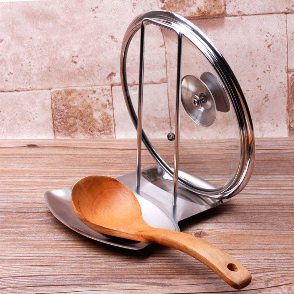 iPstyle Pan Lid Holder for Pots and Pans Progressive Lid and Spoon Rest Shelf