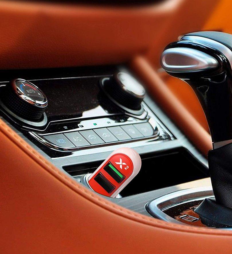 X2 30W Super Compact Dual USB Car Charger – Tangerine