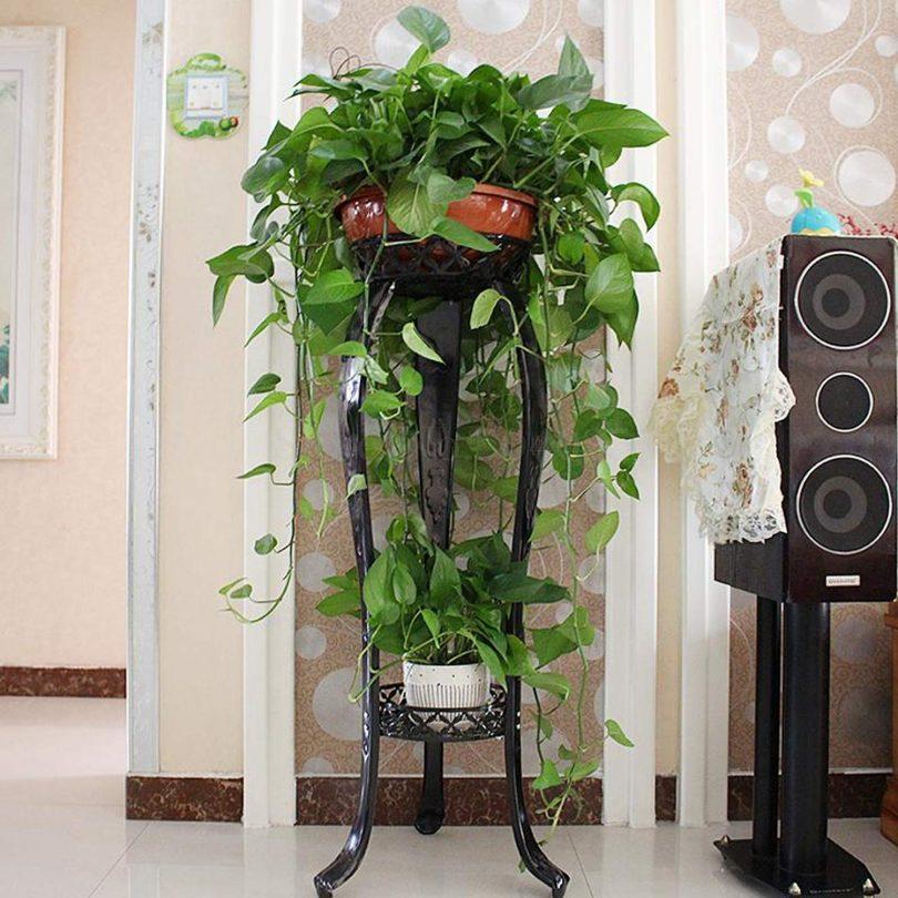 European Flower Rack Wrought Iron Multi Layer Indoor Floor Standing Green Flower Shelf