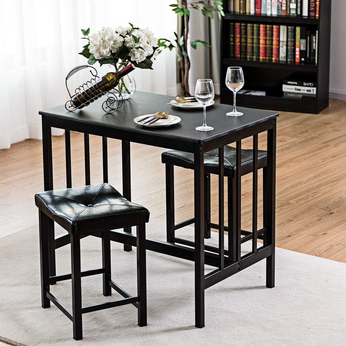 Stark Item 3 PCS Modern Counter Height Dining Set Table and 2 Chairs Kitchen Bar Furniture