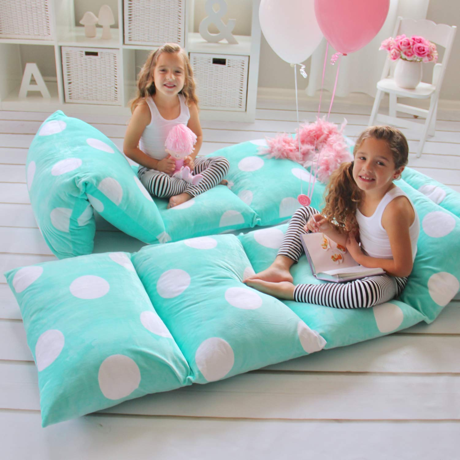 Butterfly Craze Girl's Floor Lounger Seats Cover and Pillow Cover Made of Super Soft