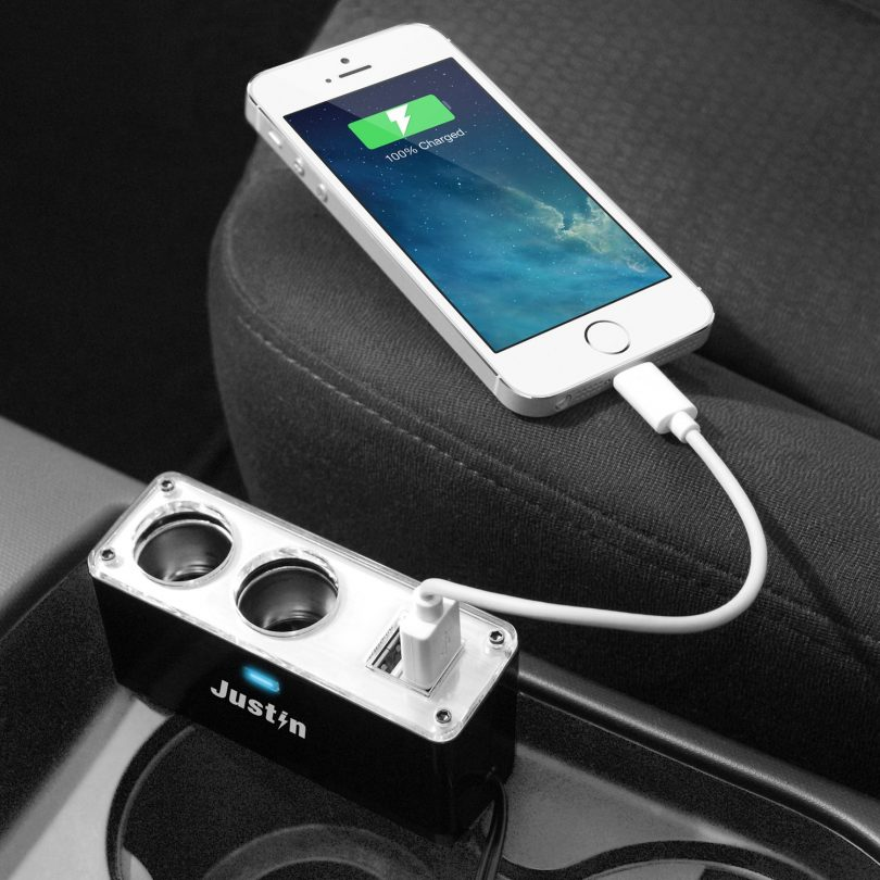 Justin Power 4-in-1 Car Adaptor with 2-Port USB and 2-Port 12V Auto Adaptor