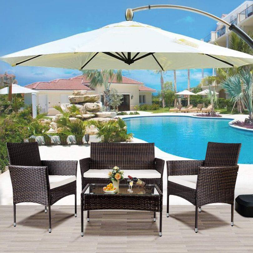 Merax Garden Backyard 4 PC Rattan Chair Patio Furniture Set