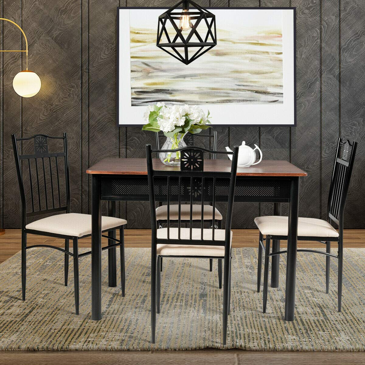 Stark Item 5 Piece Dining Set Wood Metal Table and 4 Chairs Kitchen Breakfast Furniture