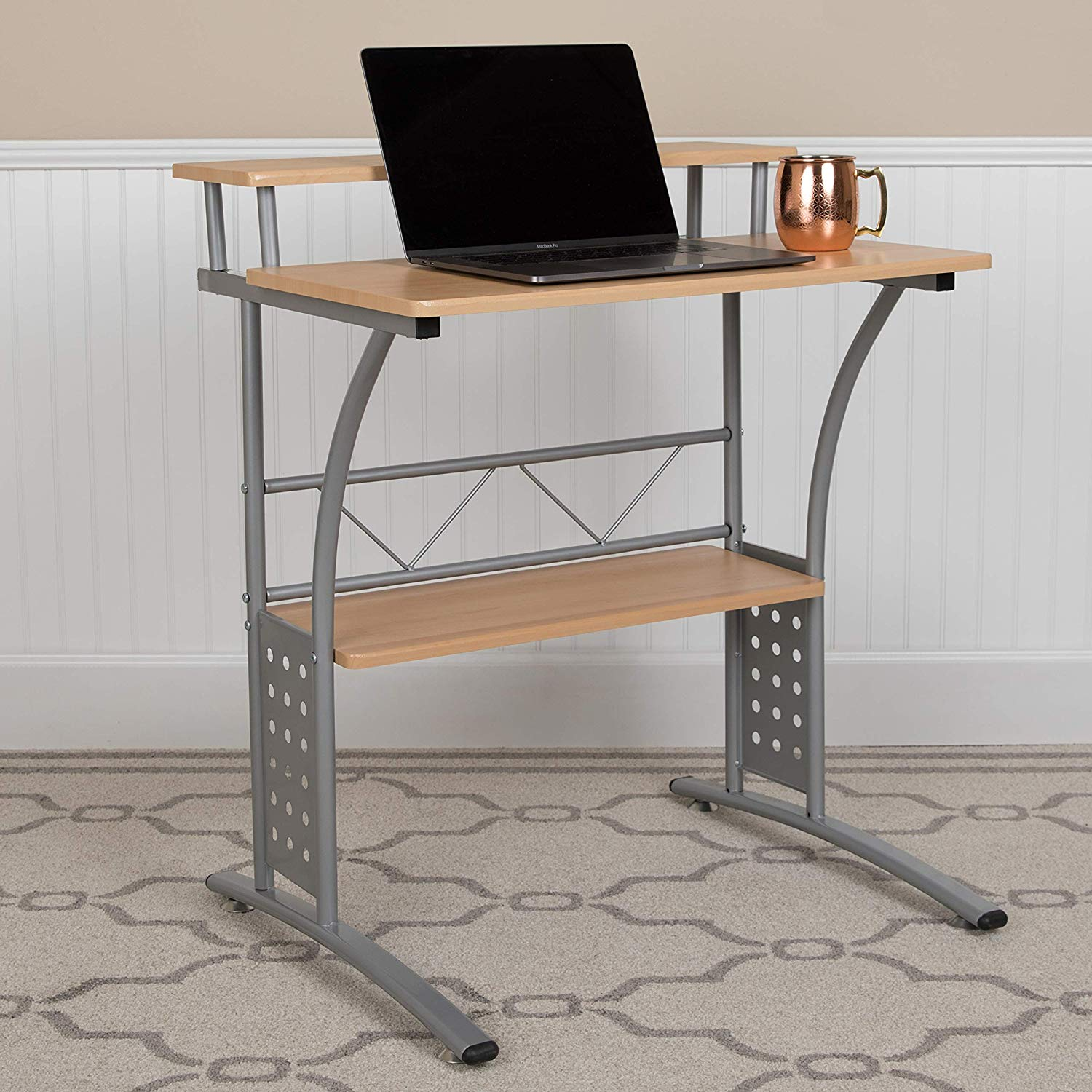 Flash Furniture Clifton Maple Computer Desk with Top and Lower Storage Shelves