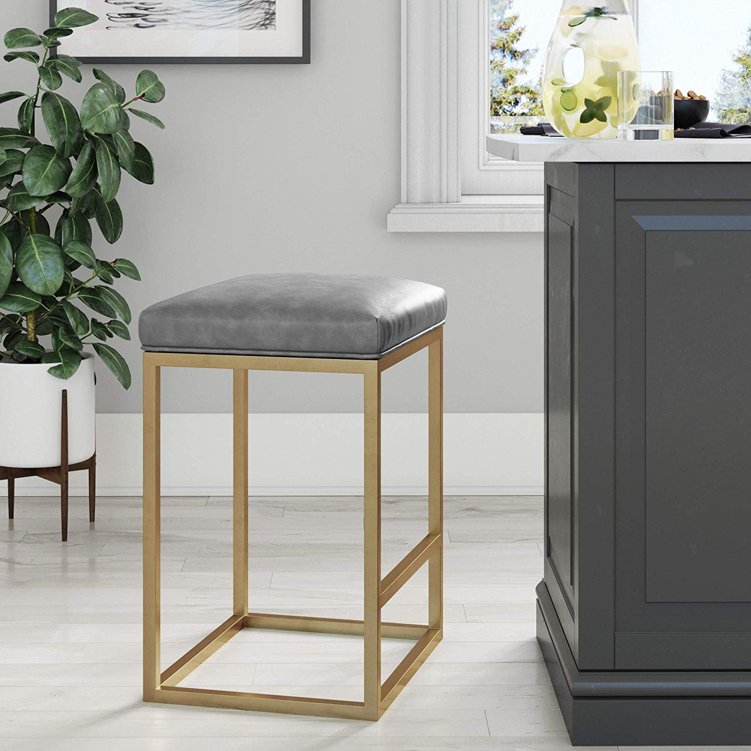 Nathan James 22103 Nelson Bar Stool with Leather Cushion and Metal Base