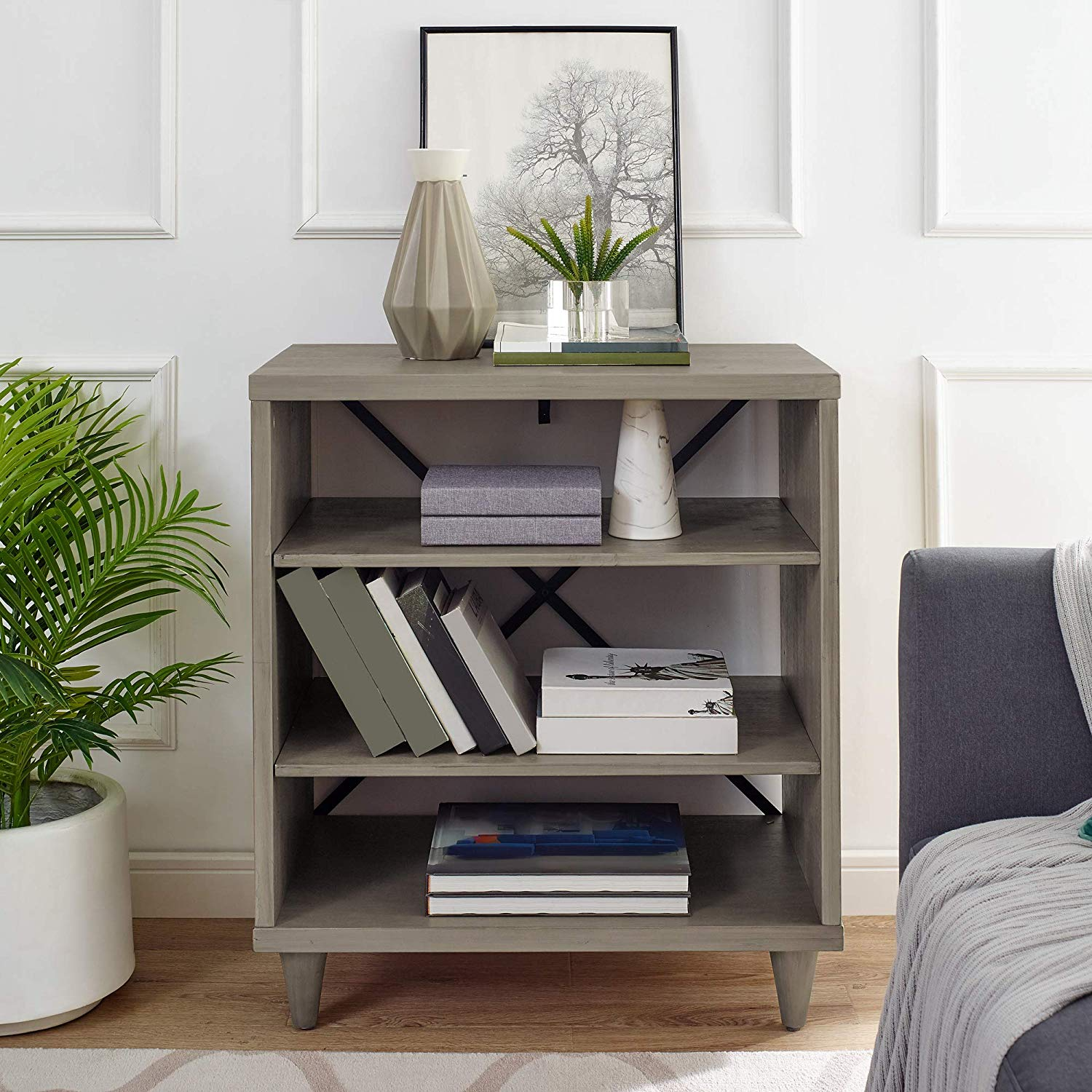 Classic Brands Rustic Farm House Three Shelf Solid Wood Bookcase/End Table with Legs