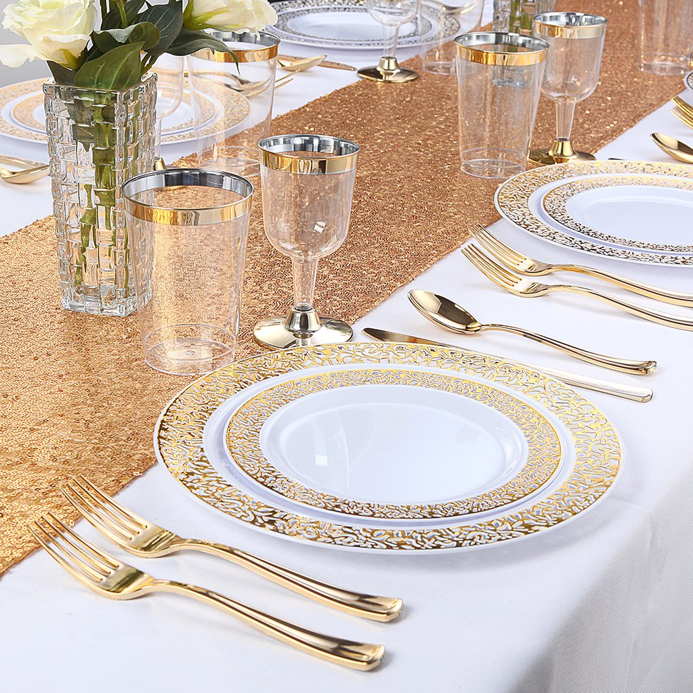 WDF 150PCS Gold Plastic Plates with Disposable Plastic Silverware
