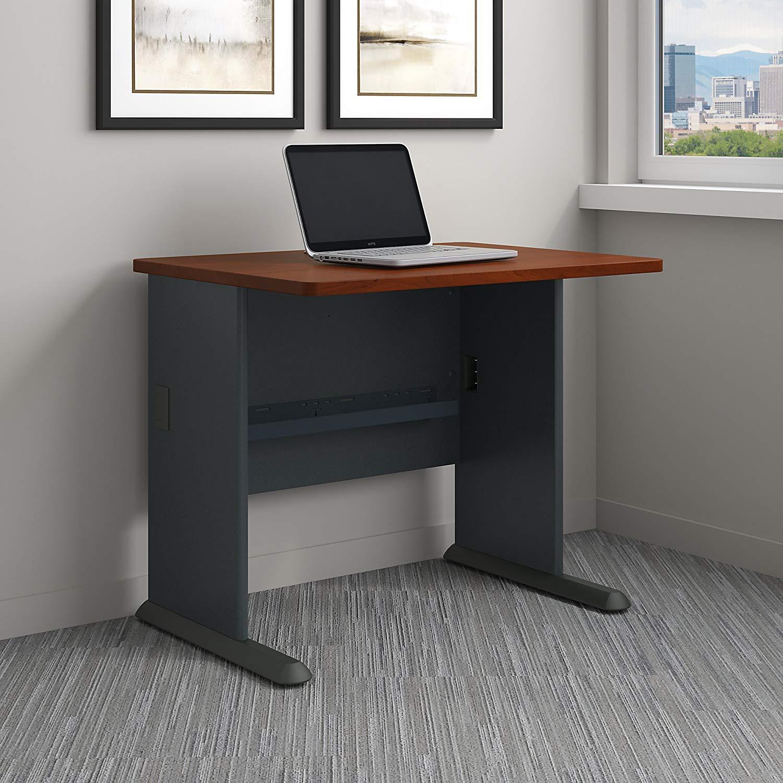 Bush Business Furniture Series A 36W Desk in Hansen Cherry and Galaxy