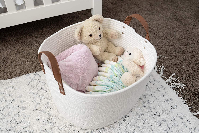 Sweetzer & Orange Large Woven Cotton Rope Storage Basket
