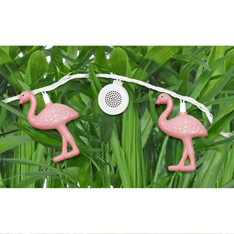 Bright Tunes Indoor/Outdoor Pink Flamingo LED String Lights with Bluetooth Speakers