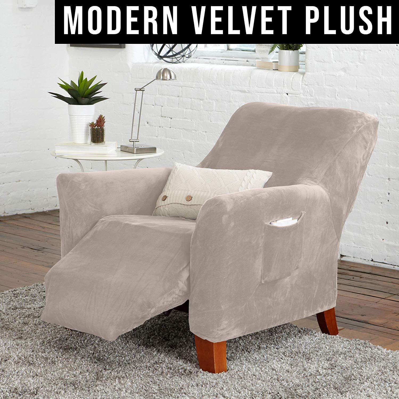 Great Bay Home Velvet Plush Stretch Recliner Slipcover