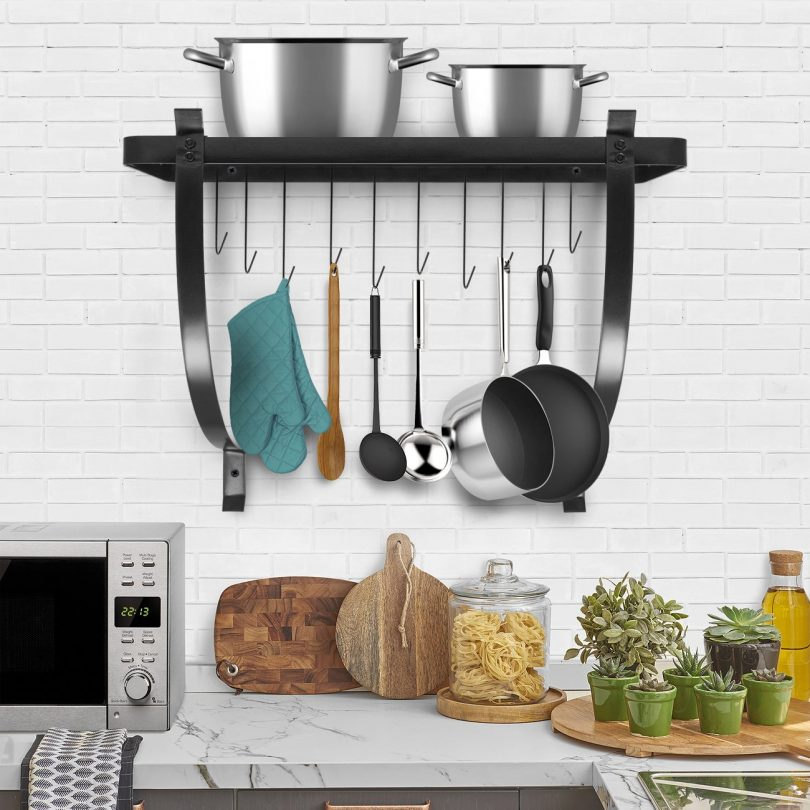 Sorbus Kitchen Wall Pot Rack with Hooks